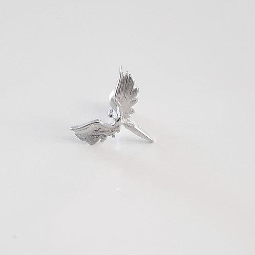 925 Ayar Gümüş Melek Detaylı Beyaz Zirkon Taşlı Tragus Piercing Küpe