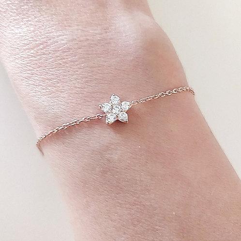925 Ayar Gümüş Zirkon Doğal Taşlı Çiçek Figürlü Özel Tasarım Bileklik