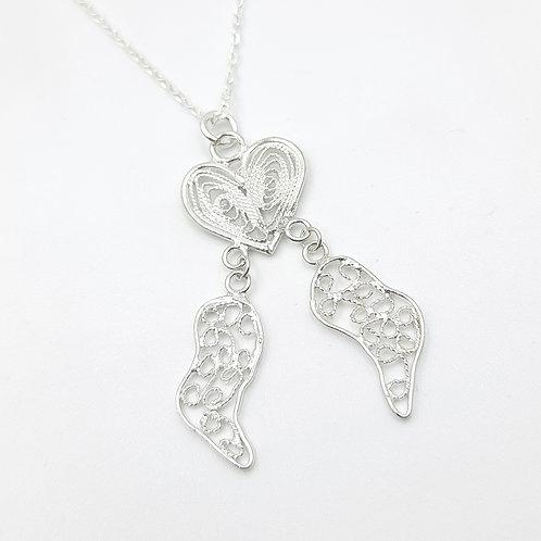1000 Ayar Gümüş  Meleklerin Kalbi Özel Tasarım Telkari Kolye
