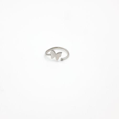 925 Ayar Gümüş Zirkon Doğal Taşlı Kelebekli Eklem Yüzüğü
