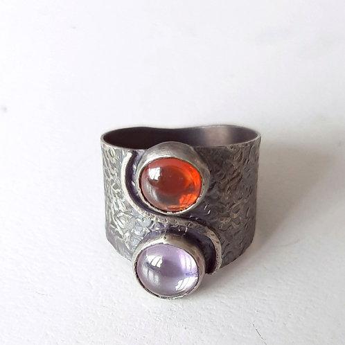 925 Ayar Gümüş  Mor ve Turuncu Zirkon Doğaltaşlı Özel Tasarım Elyapımı Tek Yüzük
