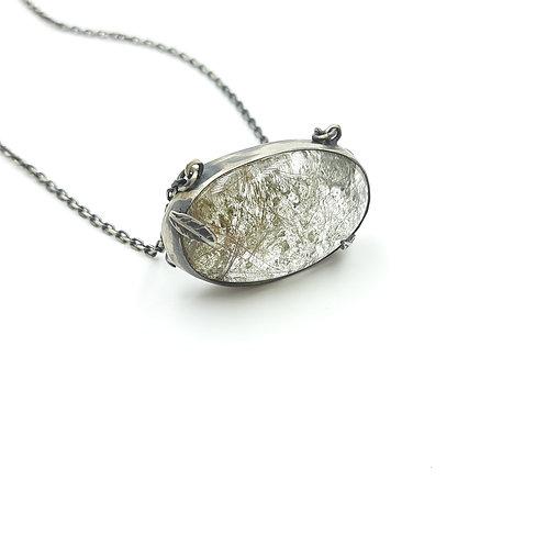Lodolit Doğal Taşlı  (Oval) Özel Tasarım El Yapımı Gümüş Kolye