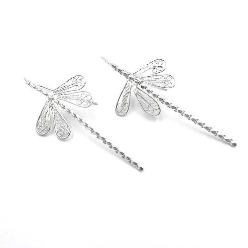 1000 Ayar Gümüş Yusufçuk Özel Tasarım Telkari Küpe