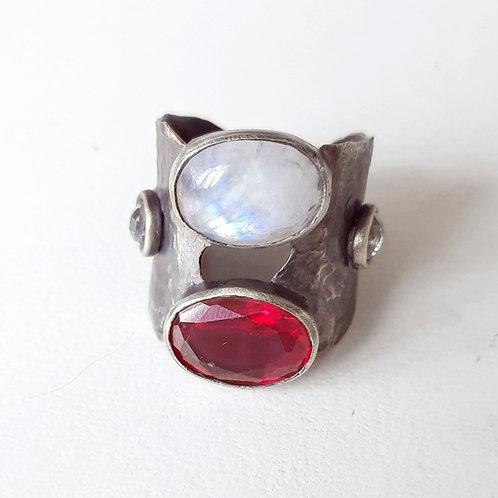 925 Ayar Gümüş Aytaşı ve Zirkon Doğal Taşlı Özel Tasarım El yapımı Tek Yüzü
