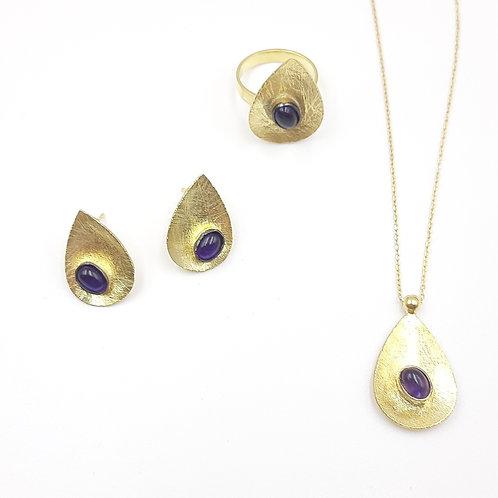 925 Ayar Gümüş Ametist Taşlı Parlak Sarı Özel Tasarım 3'lü Set Kolye Küpe Yüzük