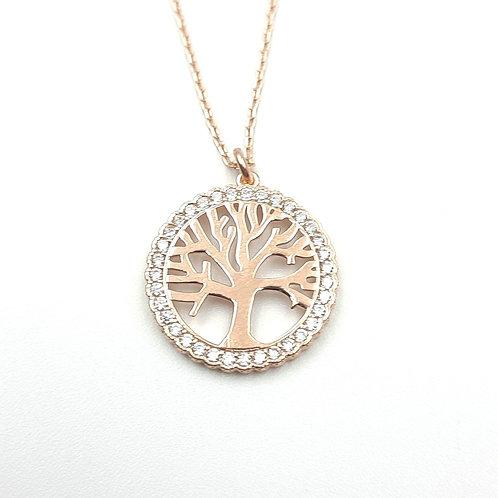 925 Ayar Gümüş Zirkon Doğal Taşlı Hayat Ağacı Figürlü Kolye