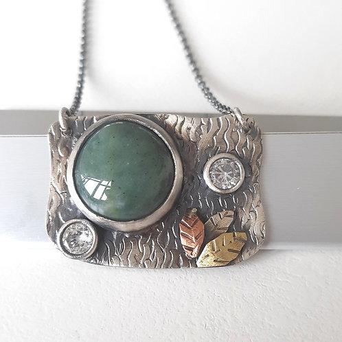 925 Ayar Gümüş Yeşil Akik Doğal Taşlı  Özel Tasarım Tek Kolye