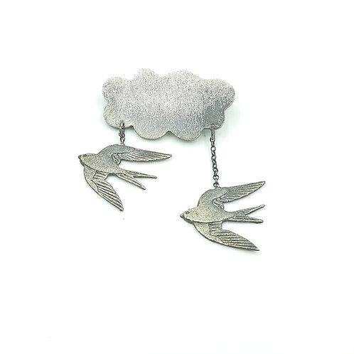 925 Ayar Gümüş Kırlangıç Figürlü Broş, Yaka İğnesi