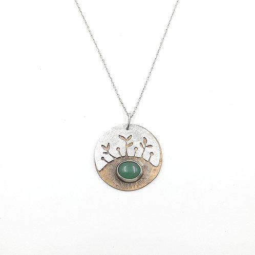 Bakır Detaylı Yeşil Akik Doğal Taşlı  Özel Tasarım Gümüş  Kolye