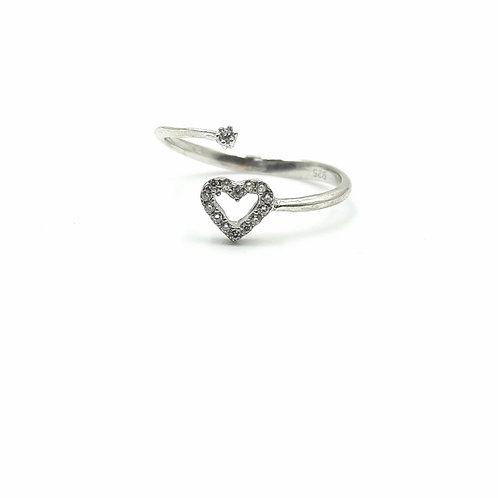 925 Ayar Gümüş Zirkon Doğal Taşlı Kalpli Eklem Yüzüğü