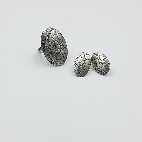 925 Ayar Gümüş Özel Tasarım El Yapımı Küpe ve Yüzük Set