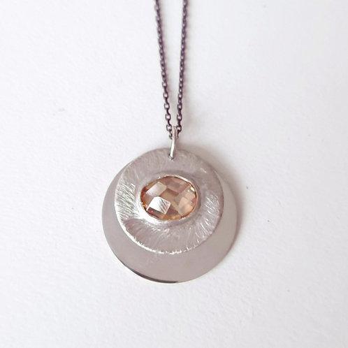 925 Ayar Gümüş Şampanya Zirkon Doğal Taşlı Özel Tasarım El Yapımı Kolye