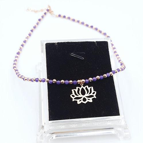 925 Ayar Gümüş Lotus Çiçeği ve  Mor Kristal Taşlı Hematit Toplu Kolye