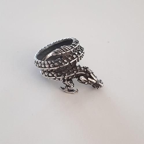 925 Ayar Gümüş Ejderha Figürlü Özel Tasarım Yüzük