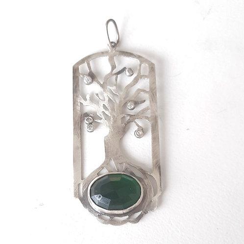 925 Ayar Gümüş Yeşil ve Beyaz Zirkon Doğal Taşlı Özel Tasarım Ağaç Kolye