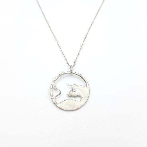 925 Ayar Gümüş Zirkon Doğal Taşlı Öküz Figürlü  Özel Tasarım Kolye