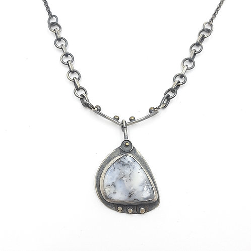 925 Ayar Gümüş Dentrit Agat Doğal Taşlı Özel Tasarım El Yapımı Kolye