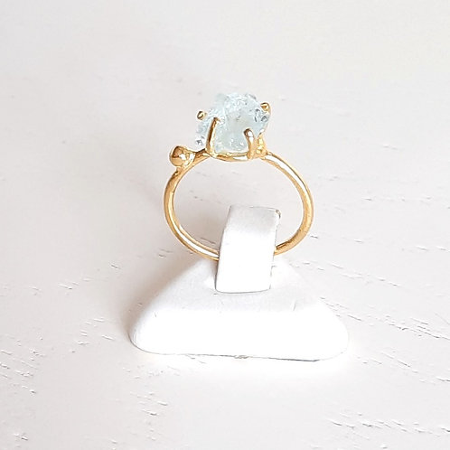 925 Ayar Gümüş Akuamarin Doğal Taşlı Özel Tasarım Yüzük