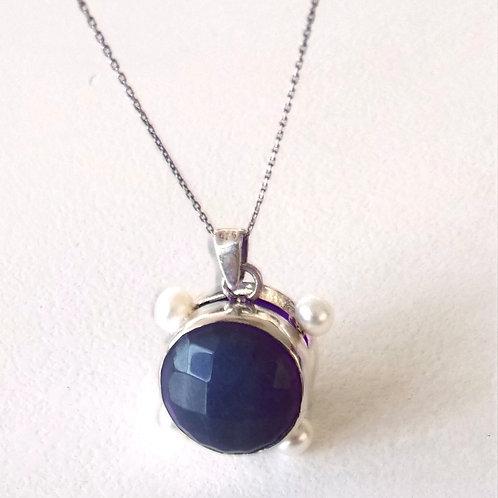 925 Ayar Gümüş Mavi ve Yeşil Akik Doğal Taşlı, İnci Detay Özel Tasarım Tek Kolye