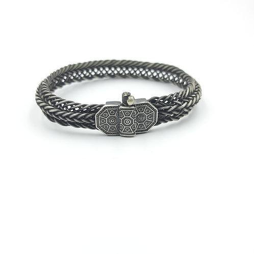925 Ayar Gümüş El işi Hasır Örme Erkek Kelepçe Bileklik