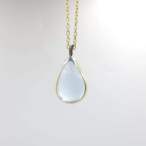 925 Ayar Gümüş Mavi Topaz Özel Tasarım Kolye