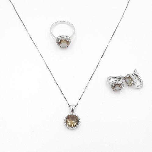 Zultanit Doğal Taşlı Kolye Küpe ve Yüzük 3'lü Gümüş Set