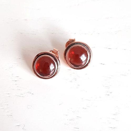 925 Ayar Gümüş Garnet Doğal Taşlı Roze Kaplama Özel Tasarım Küpe
