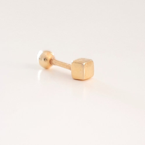 925 Ayar Gümüş Küp Sarı Altın Kaplamalı Tragus Piercing Küpe