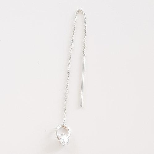 925 Ayar Gümüş Beyaz Zirkon Yuvarlak Taşlı Zincir Tek Küpe