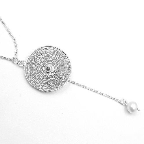 1000 Ayar Gümüş İnci Doğal Taşlı Özel Tasarım Telkari Kolye