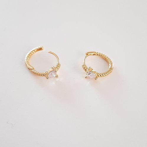 925 Ayar Gümüş Kalp Beyaz Zirkon Taşlı Piercing Minimal Halka Küpe