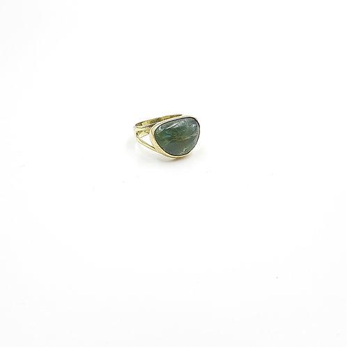 925 Ayar Gümüş Yeşil Diopsid Doğal Taşlı Özel Tasarım El Yapımı  Yüzük