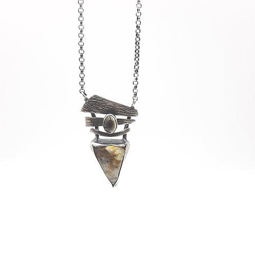 925 Ayar Gümüş Jasper ve Sitrin Doğal Taşlı Özel Tasarım El Yapımı Kolye