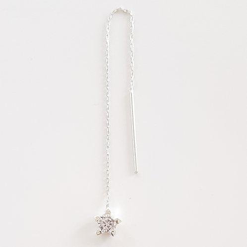 925 Ayar Gümüş Beyaz Zirkon Taşlı Zincir Tek Küpe