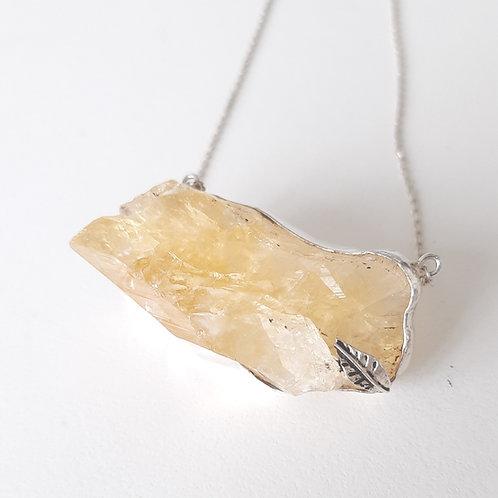 925 Ayar Gümüş Sitrin Doğal Taşlı Özel Tasarım El Yapımı Tek Kolye