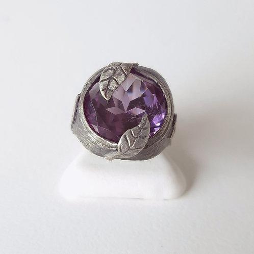 925 Ayar Gümüş Mor Zirkon Doğal Taşlı Özel Tasarım El Yapımı Yüzük