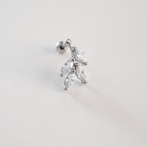 925 Ayar Gümüş Yaprak Dal Detaylı Beyaz Zirkon Taşlı Tragus Piercing Küpe