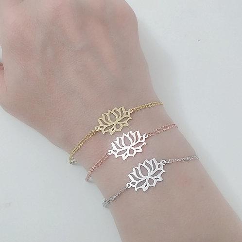 925 Ayar Gümüş Lotus Çiçeği Çift Zincirli Bileklik