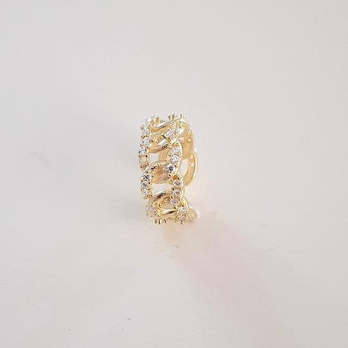 925 Ayar Gümüş Beyaz Zirkon Taşlı Sarı Altın Kaplamalı Kıkırdak Küpe