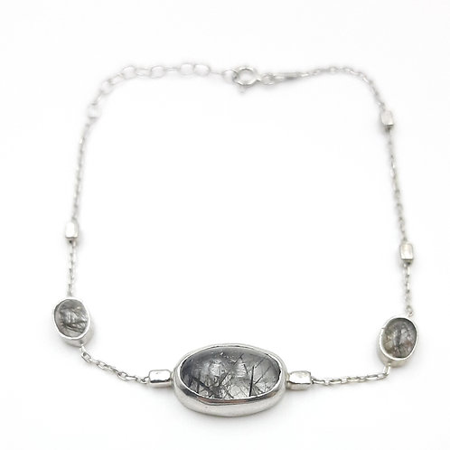 925 Ayar Gümüş Rutil Kuars Doğal Taşlı Rodyum Kaplama Özel Tasarım Bileklik