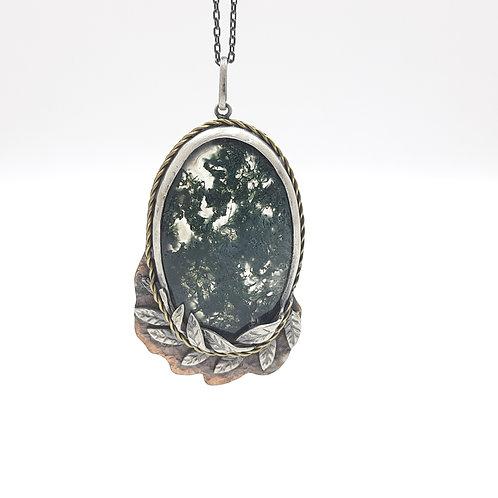Gümüş Yosunlu Akik Doğal Taşlı Yapraklı Özel Tasarım El Yapımı Kolye