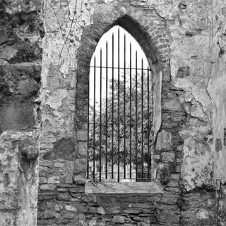 St Canice's Abbey window B/W image