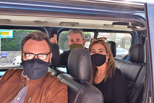 Neeson Ireland Tour group in mini bus.JP