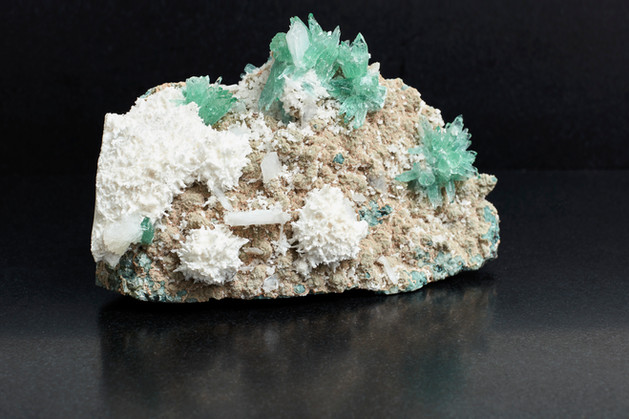 Green Apophyllite flowers on Scolecite. £680.00 (9cm long. 710g total weight)