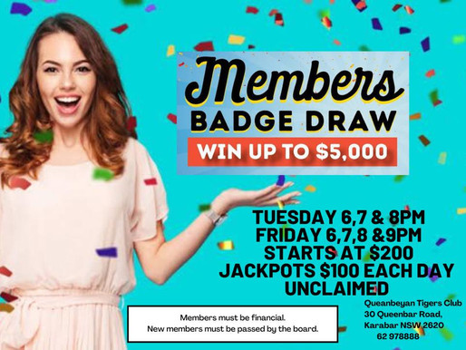 Members Badge Draw JACKPOT!!
