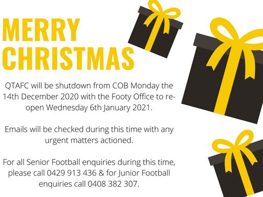 Football Operations Christmas Shutdown