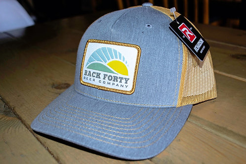 Blue with yellow mesh trucker hat