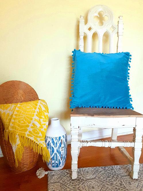 turqouise-copper throw pillow