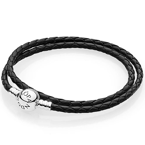 Moments Double Black Leather Bracelet