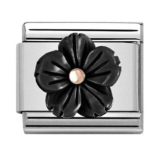 Nomination Rose Gold & Onyx Mother of Pearl Flower